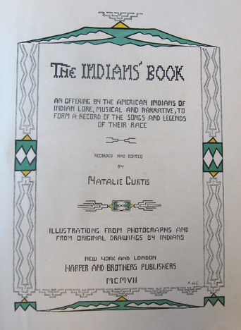 "photo of Puccini's copy of Natalie Curtis' book on Native American music (1907) which Puccini used in composing ""La Fanciulla del West"" PucciniCurtisbook1.jpg"